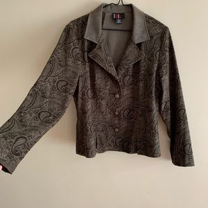 Soft Paisley Blazer in Olive Drab / Black